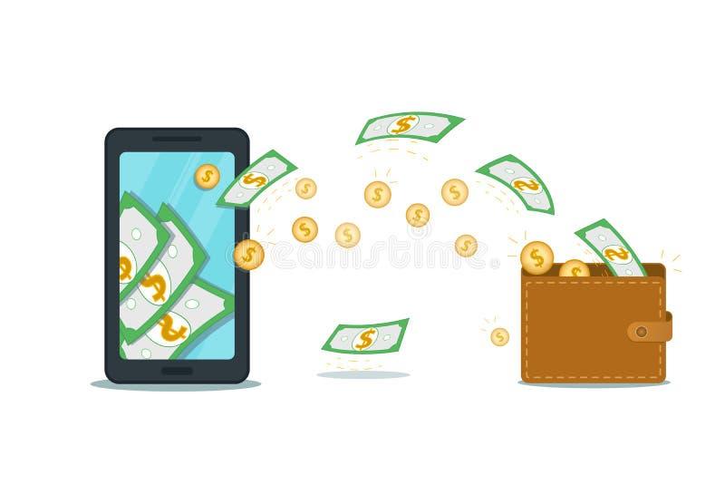 Mobiele portefeuille app of online betalingssysteem, de rekeningsconcept van de spaarbank Vlakke smartphone met cash flow en munt stock illustratie