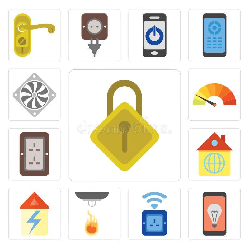 Mobiele reeks van Sluiten, Contactdoos, Sensor, Huis, Stop, Meter, Coole stock illustratie