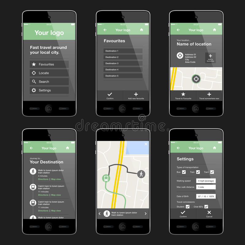 Mobiele reisapp ontwerplay-out royalty-vrije stock afbeelding