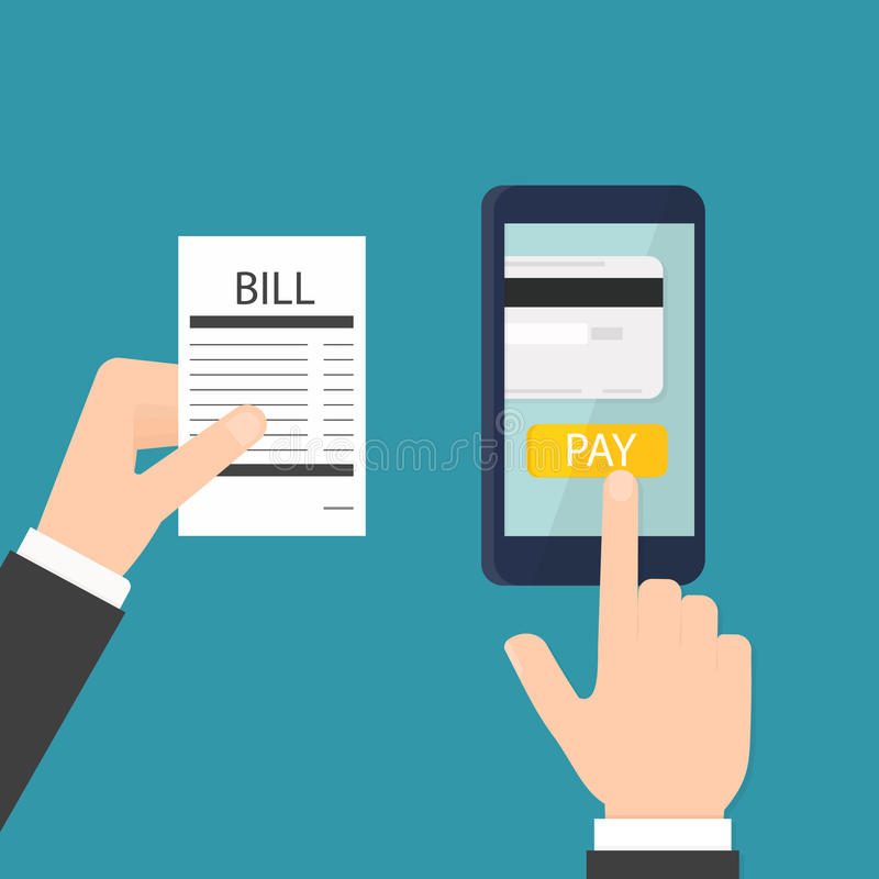 Mobiele rekeningsbetaling stock illustratie