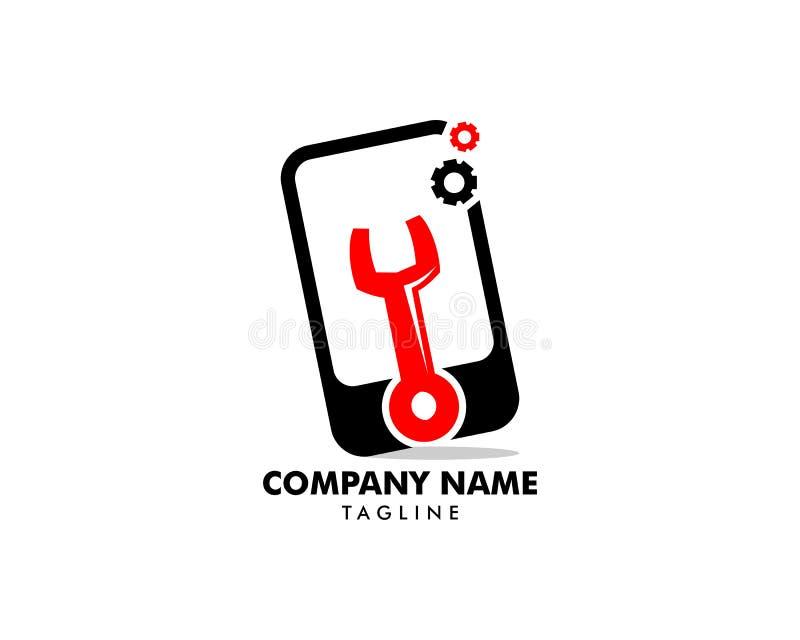 Mobiele Reparatie Logo Design Template stock illustratie