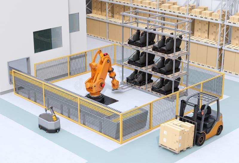 Mobiele robot die in de fabriek zware robotcellen overbrengt stock illustratie