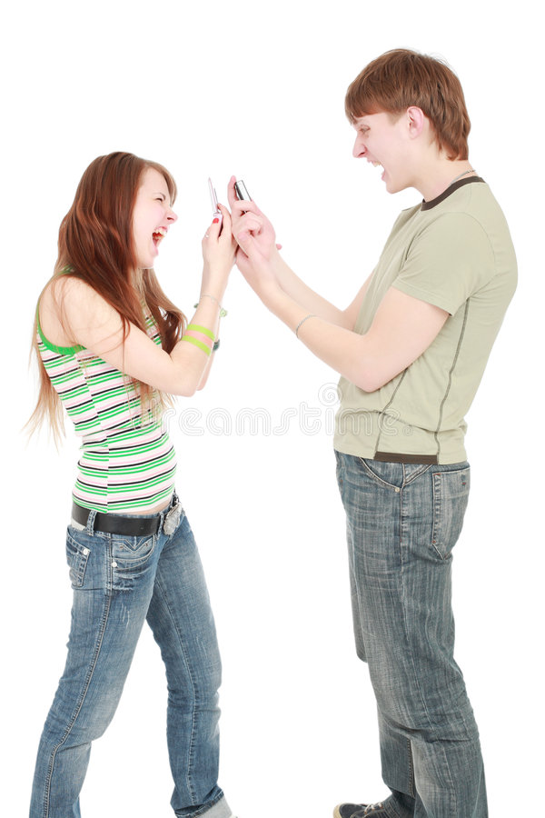 Mobiele schreeuw stock fotografie