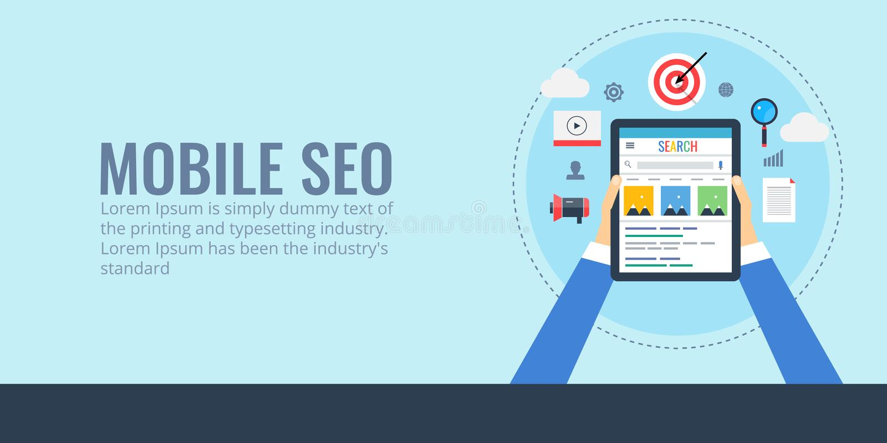Mobiele seo - zoekmachineoptimalisering voor digitale apparaten De vlakke banner van ontwerpseo stock illustratie