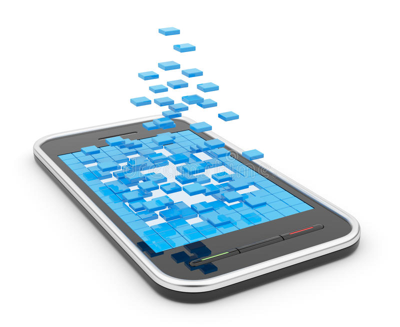 Mobiele slimme telefoon met abstracte 3D vormen vector illustratie