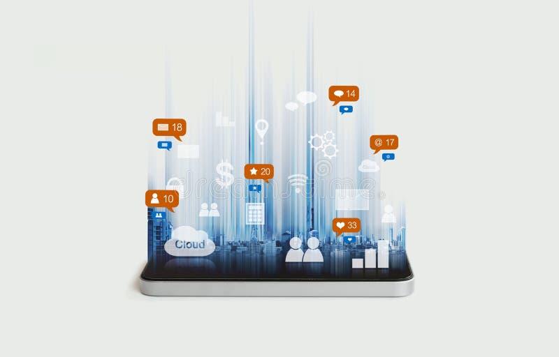 Mobiele slimme telefoontoepassing, en sociale media, het sociale pictogram van het netwerkbericht royalty-vrije illustratie