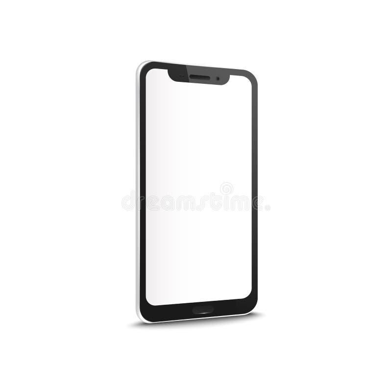 Mobiele smartphone met leeg het scherm vectordiemodel op witte achtergrond wordt geïsoleerd vector illustratie