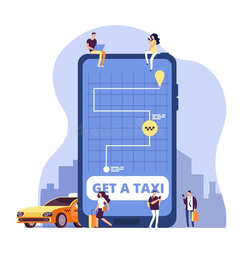 Mobiele taxi De online taxidienst en betaling met smartphone app Mensen die tot taxi opdracht geven bij reusachtige celtelefoon V vector illustratie