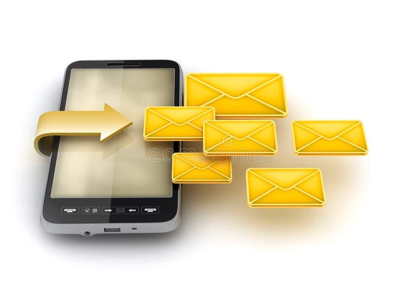 Mobiele technologie - Dienst voor korte berichten (SMS) stock illustratie