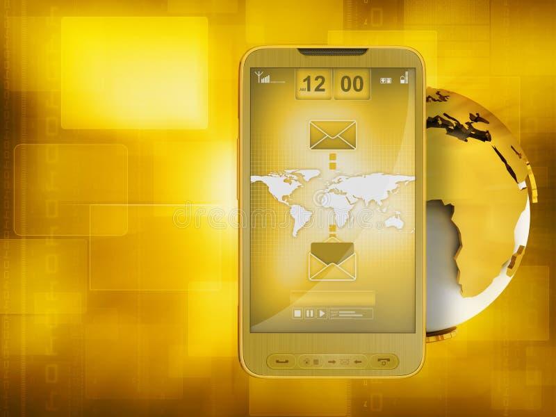 Mobiele technologie - Internet op celtelefoon stock illustratie