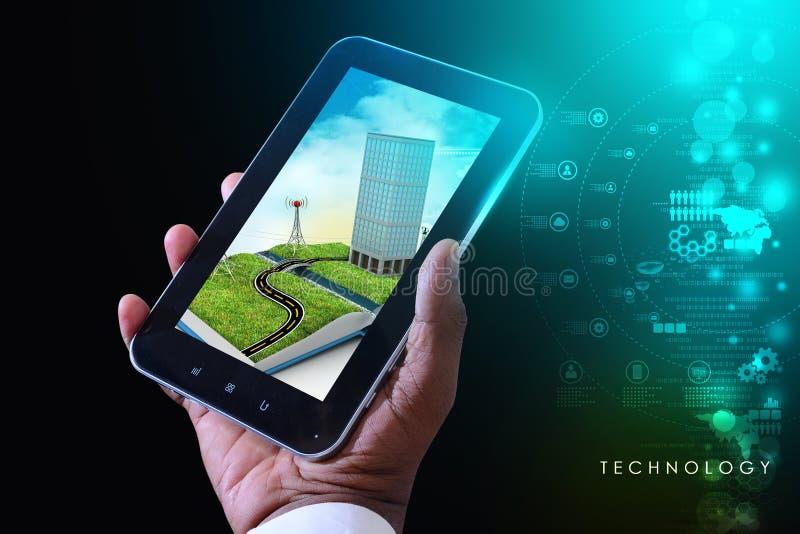 Mobiele technologiecityscape stock afbeeldingen