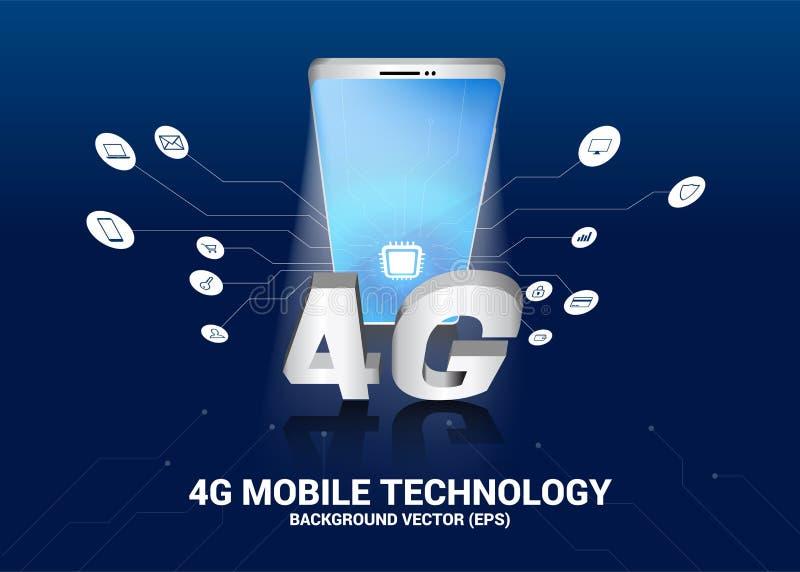 Mobiele telefoon 3D met het pictogram van 4G en van de functie vector illustratie