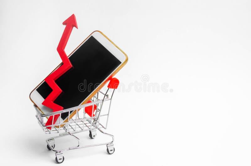 Mobiele telefoon in een supermarktkarretje en een rode pijl omhoog hoge vraag naar de aankoop van een smartphone Online opslag co stock afbeeldingen