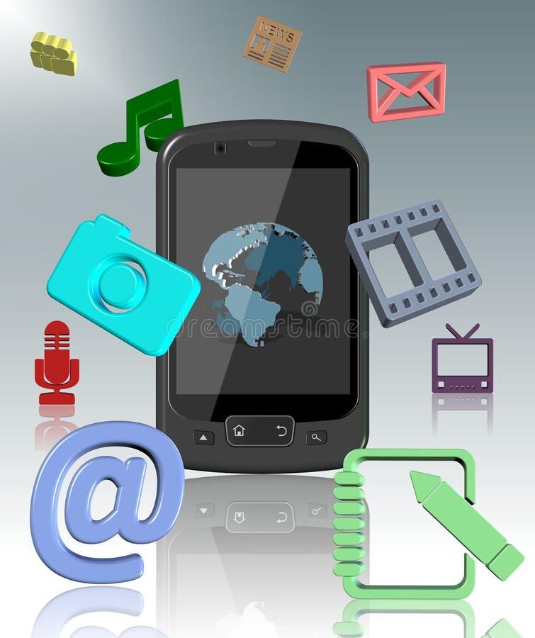 Mobiele telefoon en pictogrammen vector illustratie