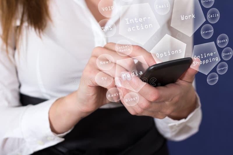 Mobiele telefoon in gebruik stock foto's