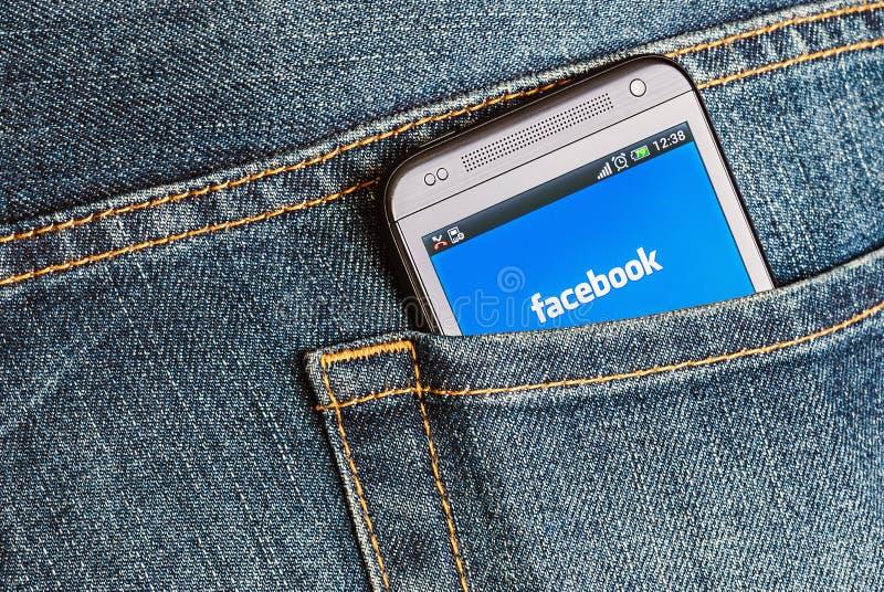 Mobiele telefoon HTC en ingang aan facebook royalty-vrije stock foto