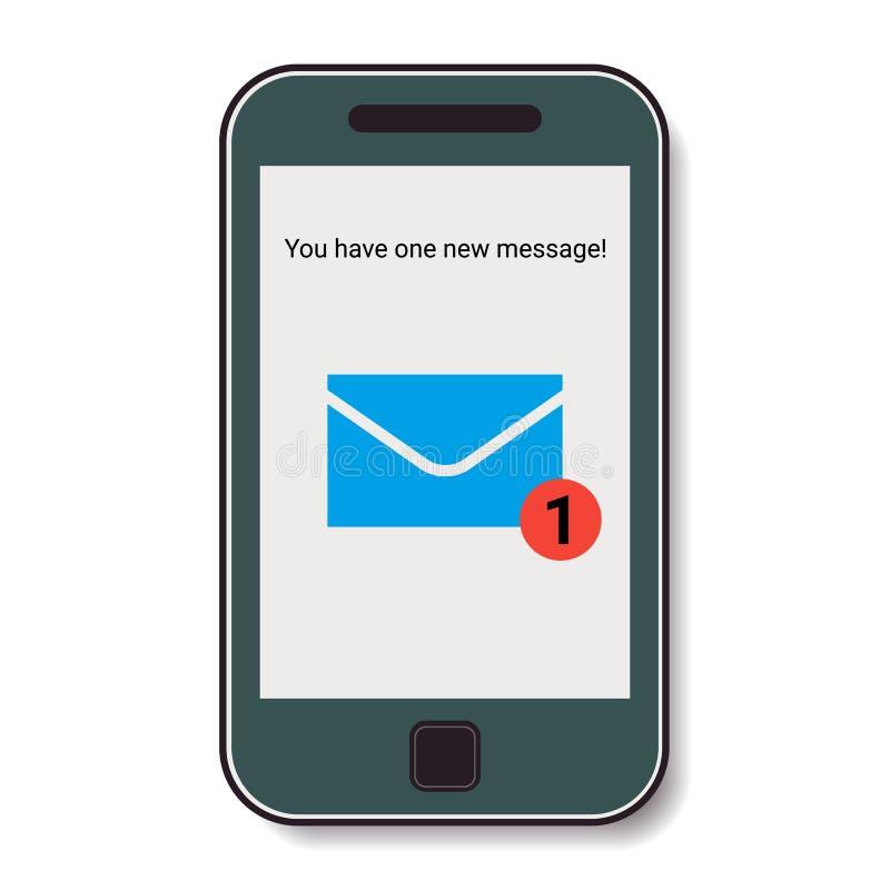 Mobiele telefoon met binnenkomend bericht vector illustratie