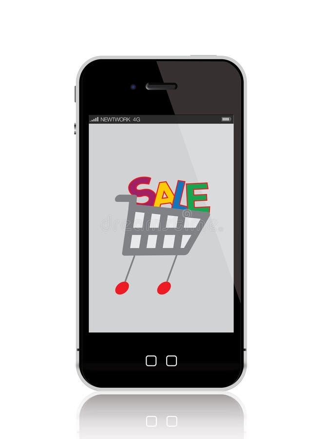 Mobiele telefoon met boodschappenwagentje royalty-vrije illustratie