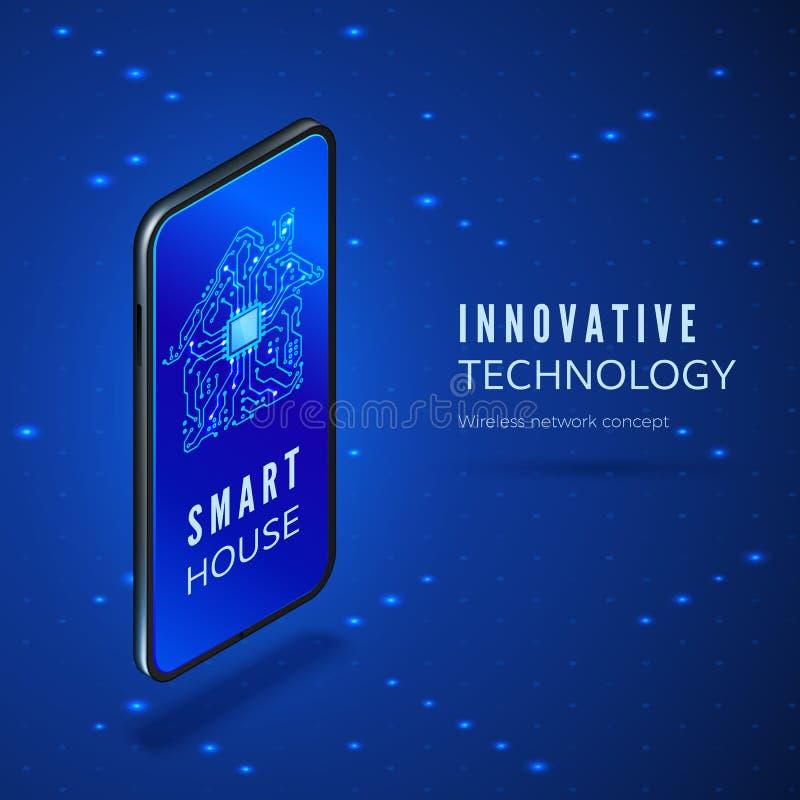 Mobiele telefoon met de slimme toepassing van de huisinterface De kringsbouw silhouet op de isometrische banner van het smartphon royalty-vrije illustratie