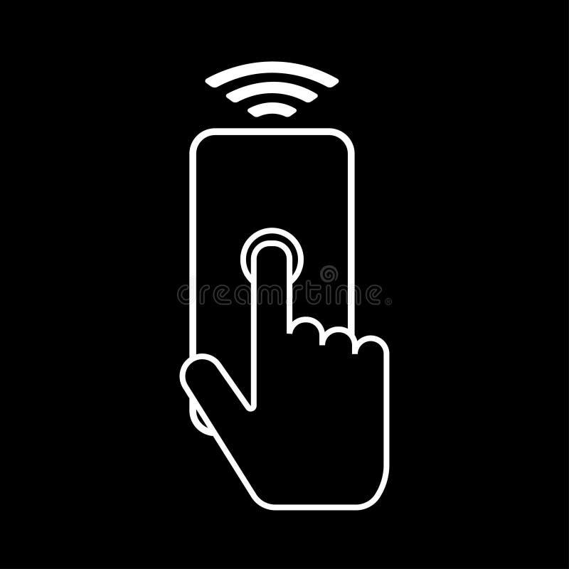 Mobiele telefoon met draadloze technologie Het aanrakingsscherm Wereldtechnologie Vector illustratie vector illustratie