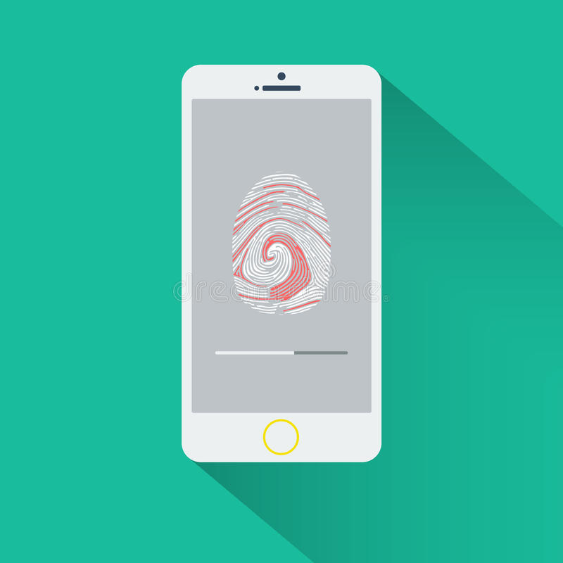 Mobiele telefoon met fingerptint royalty-vrije stock fotografie