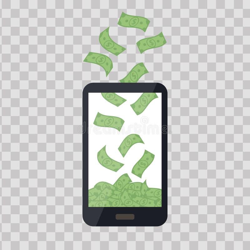 Mobiele telefoon met geldstapel op transparante achtergrond De hoop van contant geldbankbiljetten, dalende dollars Commercieel ba stock illustratie