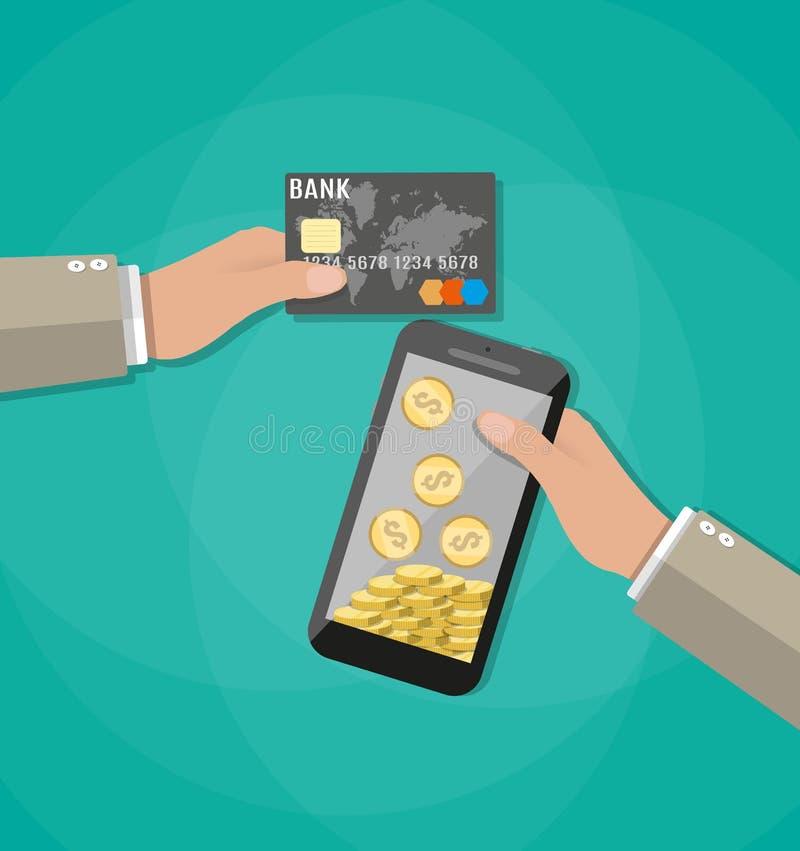 Mobiele telefoon met gouden muntstukken binnen en betaalpas stock illustratie