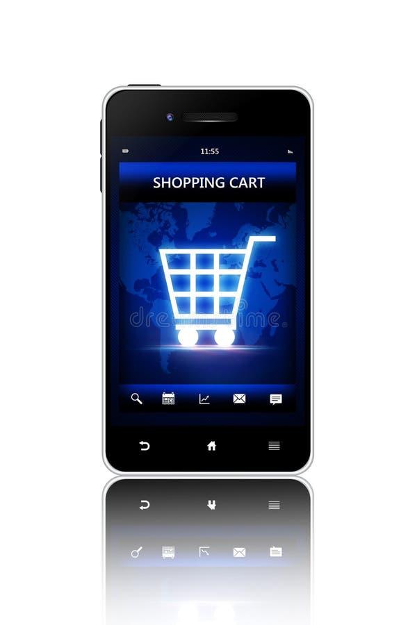 Mobiele telefoon met het boodschappenwagentjescherm over witte achtergrond royalty-vrije illustratie