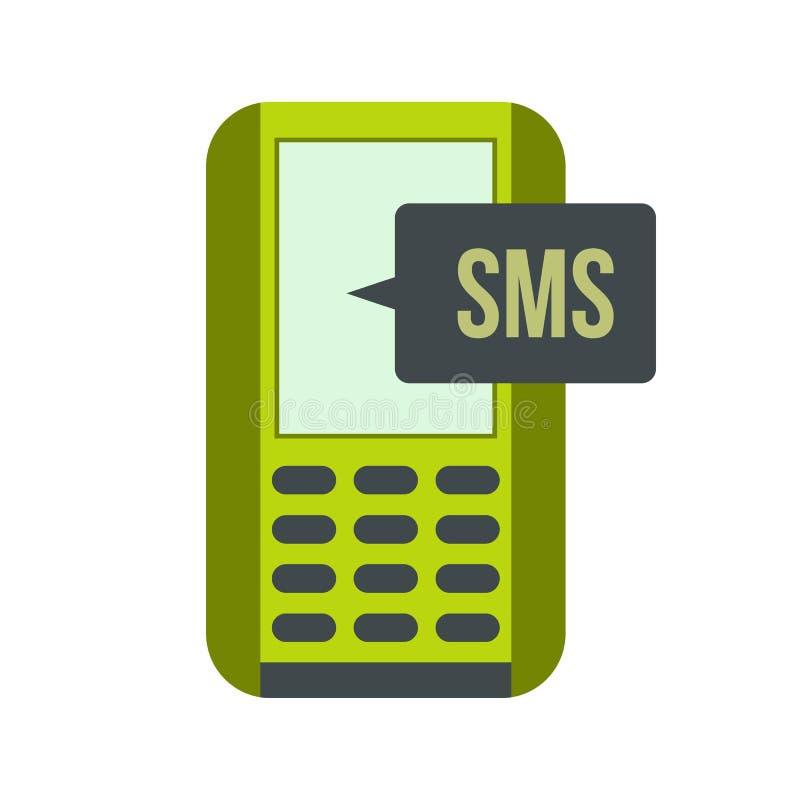 Mobiele telefoon met het symbool vlak pictogram van het smsbericht vector illustratie
