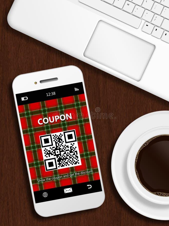 Mobiele telefoon met Kerstmiscoupon, mok koffie en laptop sleutel stock illustratie
