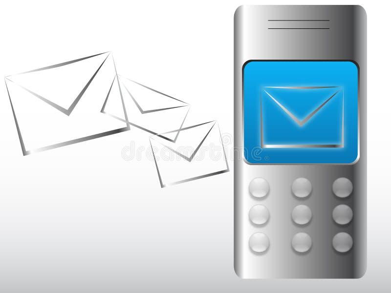 Mobiele telefoon met nieuw e-mailbericht vector illustratie