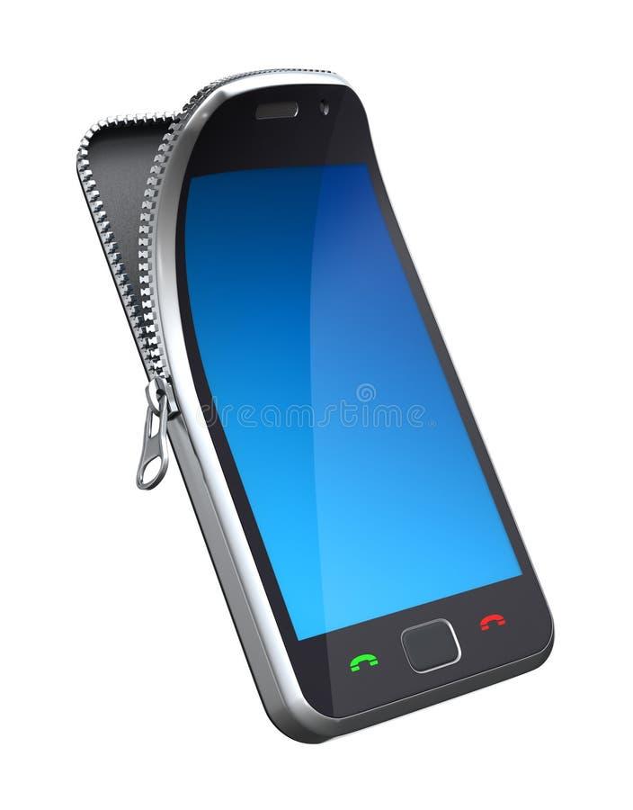 Mobiele telefoon met ritssluiting royalty-vrije illustratie