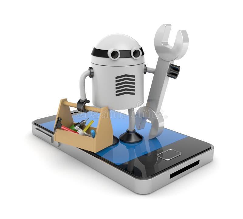 Mobiele telefoon met robot stock illustratie