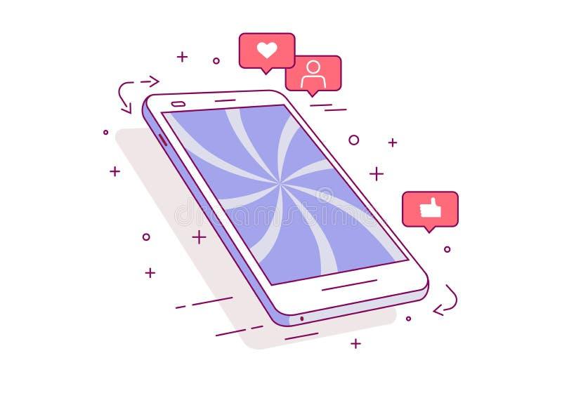Mobiele telefoon Pictogrammen van sociale netwerken Het concept afhankelijkheid van sociale netwerken vector illustratie