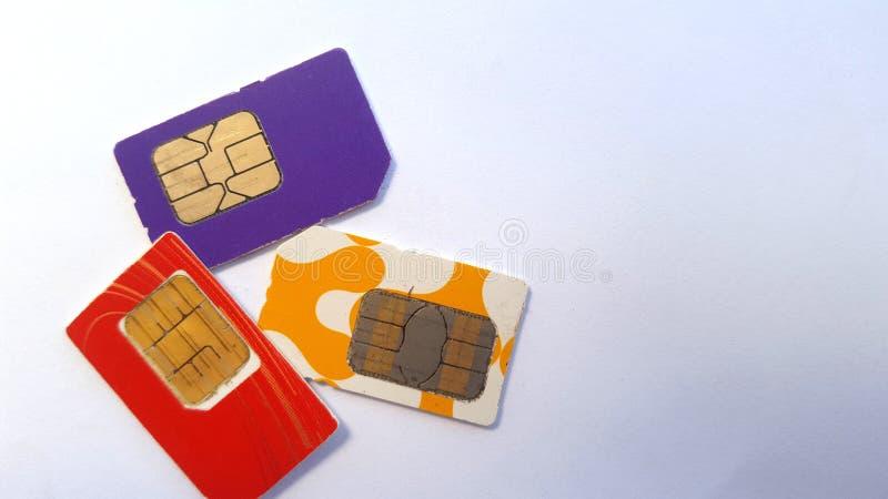 Mobiele telefoon sim kaart, één van de technologieën op het gebied van mededeling stock foto's
