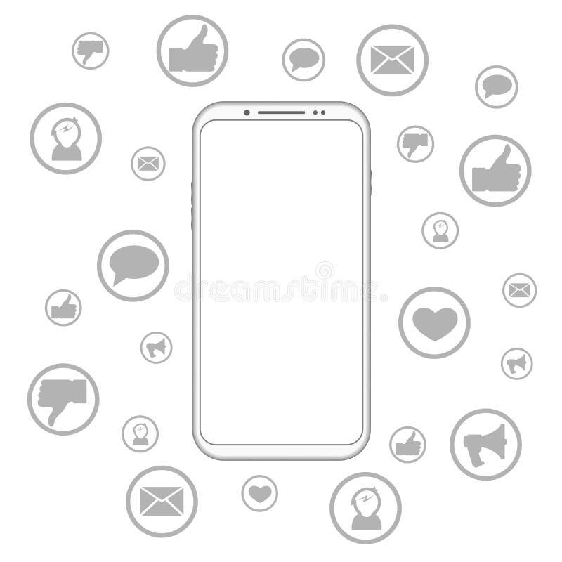 Mobiele telefoon sociale media stock illustratie