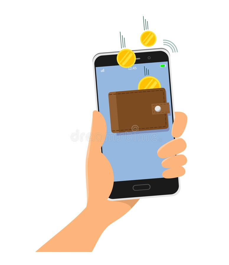 Mobiele telefoon ter beschikking Aanvulling van geld door een mobiele toepassing, mobiel bankwezen Vector illustratie op witte ac royalty-vrije illustratie