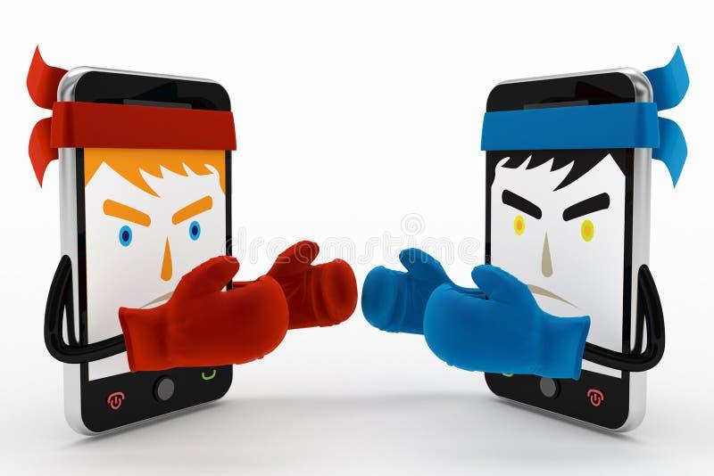 Mobiele telefoonconflict of strijd royalty-vrije illustratie