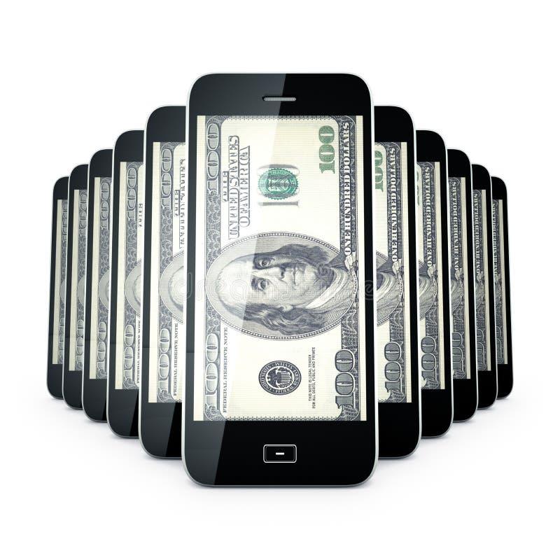 Mobiele telefoondollas. stock illustratie