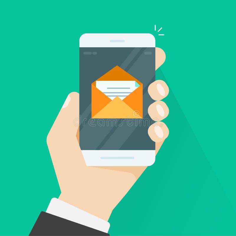 Mobiele telefoone-mail vector, het berichtbrief van de smartphonee-mail envelop vector illustratie