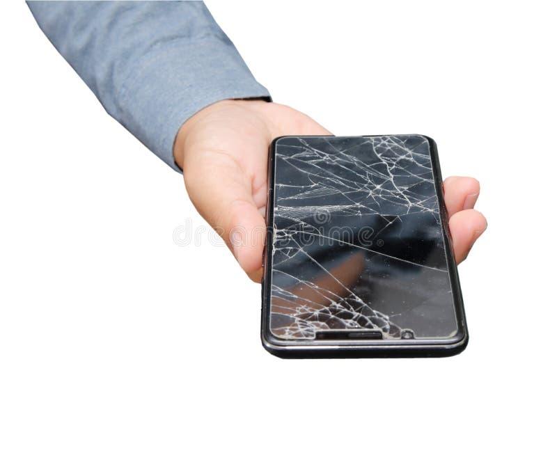 Mobiele telefoonfilm die op hand van ongeval wordt gebroken royalty-vrije stock foto