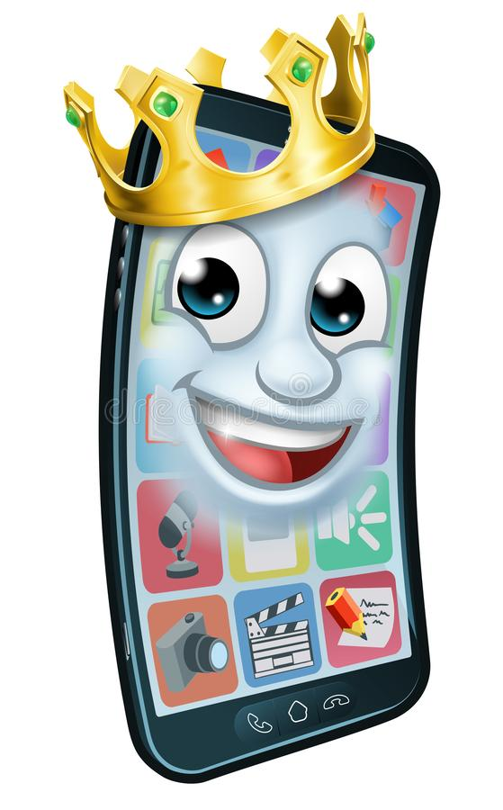Mobiele Telefoonkoning Crown Cartoon Mascot stock illustratie