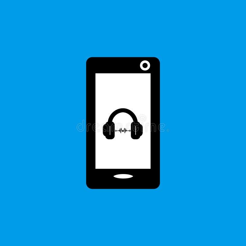 Mobiele telefoonmuziek vlak pictogram stock fotografie