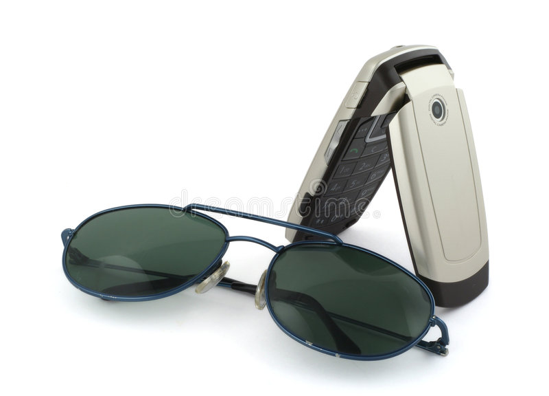 Mobiele telefoonnad zonnebril royalty-vrije stock fotografie