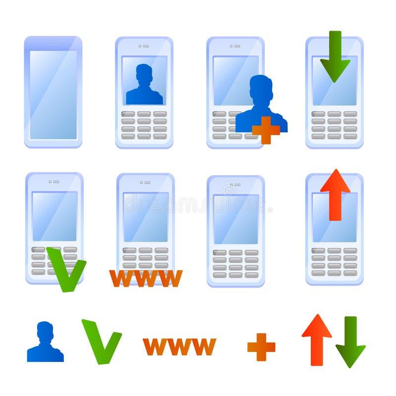 Mobiele telefoonpictogrammen vector illustratie