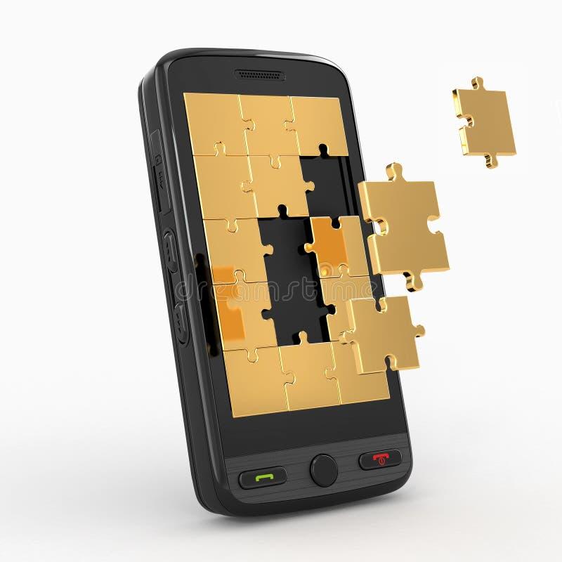 Mobiele telefoonsoftware. Het scherm van raadsel royalty-vrije illustratie