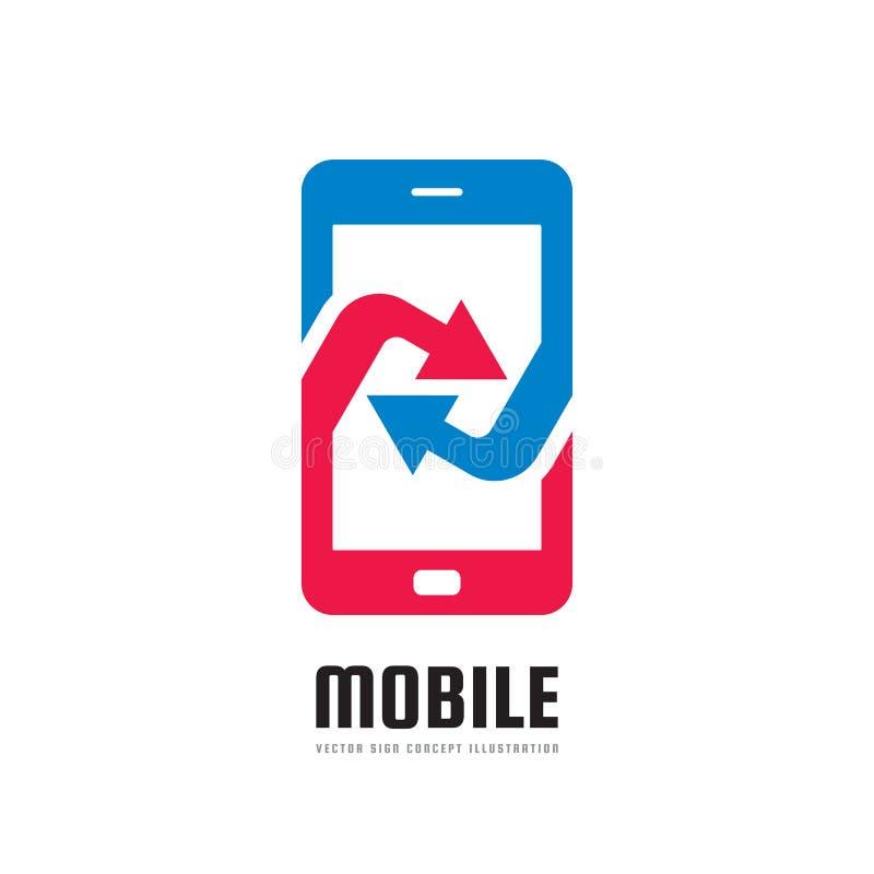Mobiele telefoontoepassing - vector het conceptenillustratie van het embleemmalplaatje Abstracte smartphone met pijlenteken Het e stock illustratie