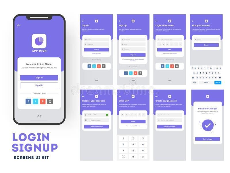 Mobiele toepassing UI of UX-ontwerp met het verschillende login scherm royalty-vrije illustratie