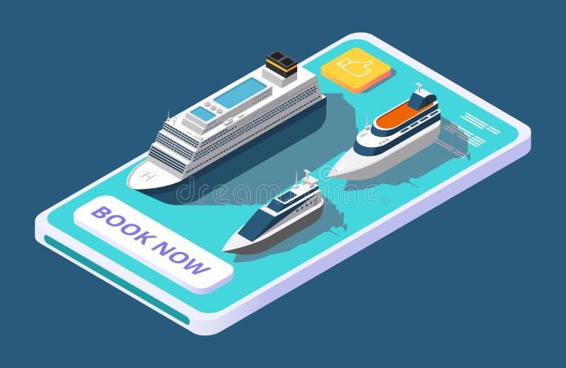 Mobiele toepassing voor het boeken van cruise met schip of jacht, isometrisch vectorconcept vector illustratie