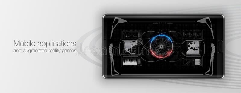 Mobiele toepassingen en vergrote werkelijkheidsspelen Presentatie van een mobiel toepassing of een spel vector illustratie